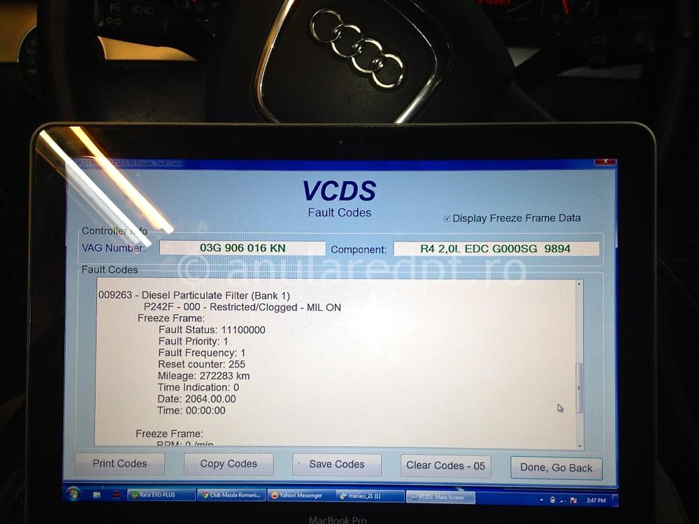 Eroare filtru particule VCDS